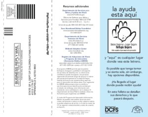 Safe Haven Law Info And Optional Registration Brochure (Spanish)